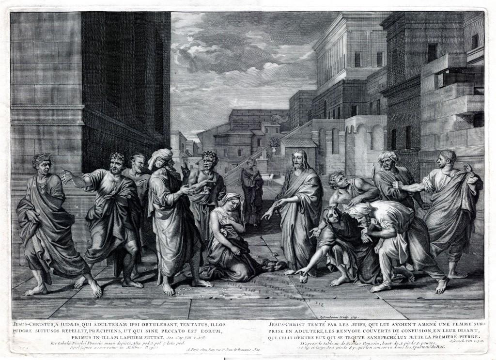 Le Christ et la femme adultère (1653 - Louvre) - Peint pour Le Nôtre