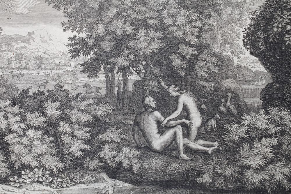 Le Printemps (1660-1664) - Détail : Adam et Eve - Gravure d'Audran