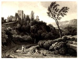 Vue de Tivoli - Gaspard Dughet (vers 1670) - Gravure